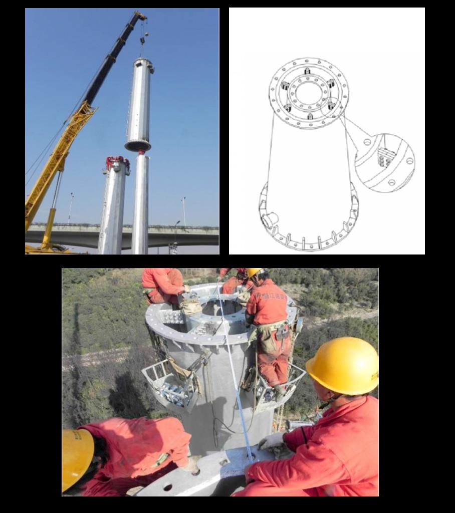 Figure 4: CFDST transmission line tower pole under construction in China (Li et al. 2012)